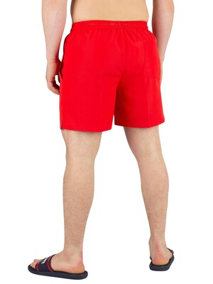 Calvin Klein Medium Drawstring Swimshorts - Flame Scarlet