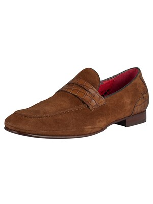 Jeffery West Velour Loafers - Mid Brown/Croco Print