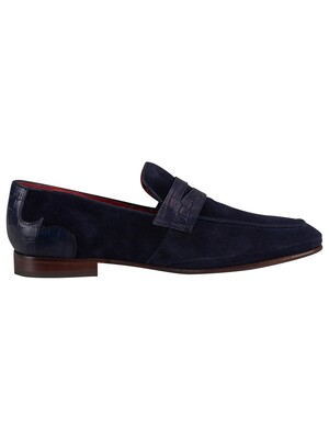 Jeffery West Velour Loafers - Dark Blue/Croco Print