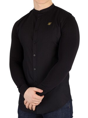 Sik Silk Black/Gold Logo Grandad Shirt