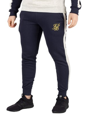 Sik Silk Taped Fitted Joggers - Navy