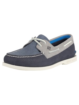 Sperry Top-Sider A/O 2- Eye Plush Washable Boat Shoes - Navy/Grey