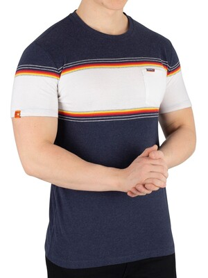 Superdry Orange Label Chestband T-Shirt - Bass Blue Grit