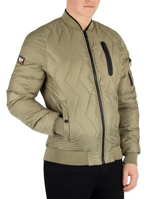 Superdry Zig Zag Quilt Bomber Jacket - Washed Khaki