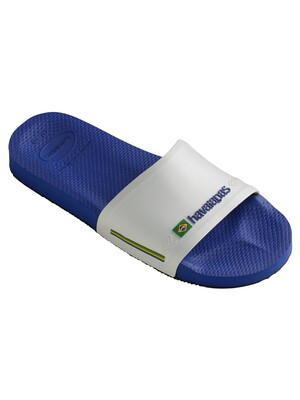 Havaianas Brasil Flag Sliders - Naval Blue/White