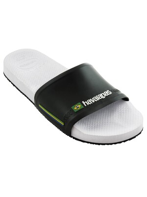 Havaianas Brasil Flag Sliders - White/Black