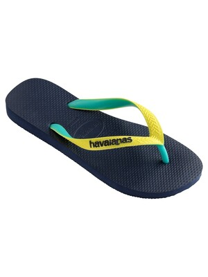 Havaianas Top Mix Flip Flops - Navy/Neon Yellow