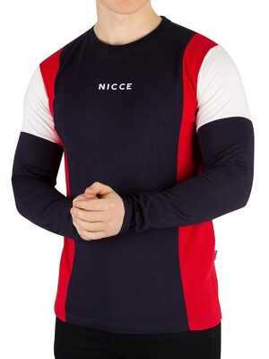 Nicce London Homewood Longsleeved T-Shirt - Red/Deep Navy