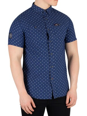 Superdry Indigo Riveter Shortsleeved Shirt - Classic Blue Dot