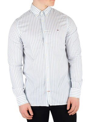 Tommy Hilfiger Slim Dobby Twill Striped Shirt - Regatta/Bright White