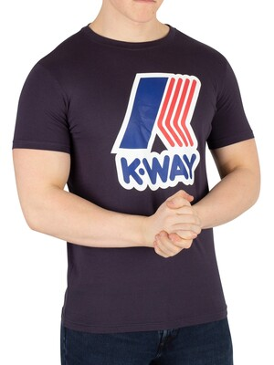 K-Way Pete Macro Slim Fit T-Shirt - Blue Depht