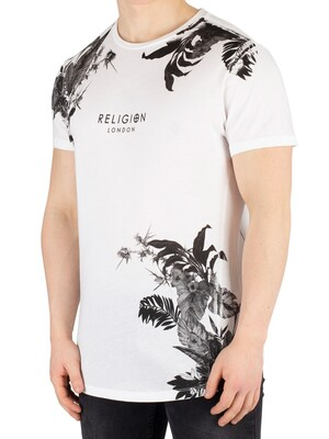 Religion Hawaiian Curved Hem T-Shirt - Black/White