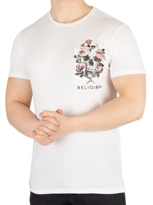 Religion Pocket Print T-Shirt - White