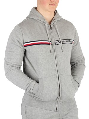 Tommy Hilfiger Logo Zip Hoodie - Cloud Heather