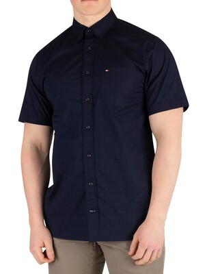 Tommy Hilfiger Stretch Poplin Shortsleeved Shirt - Sky Captain