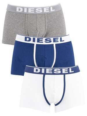 Diesel 3 Pack Fresh & Bright Trunks - White/Blue/Grey