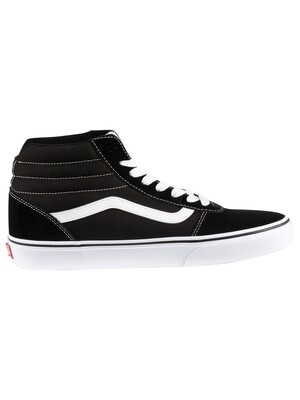 Vans Ward Hi Suede Canvas Trainers - Black/White