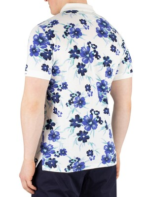 Gant All Over Floral Pique Rugger Poloshirt - Eggshell