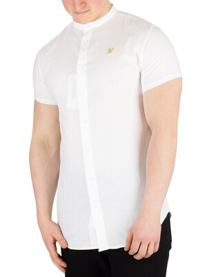 Sik Silk Grandad Shortsleeved Shirt - White/Gold