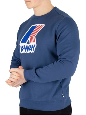 K-Way Augustine Macro Slim Sweatshirt - Blue Ottanio