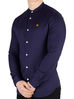 Lyle & Scott Slim Fit Grandad Collar Shirt - Navy
