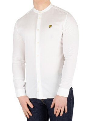 Lyle & Scott Slim Fit Grandad Collar Shirt - White
