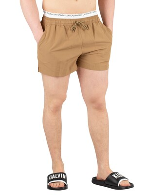 Calvin Klein Short Double Waistband Swim Shorts - Petrified Oak
