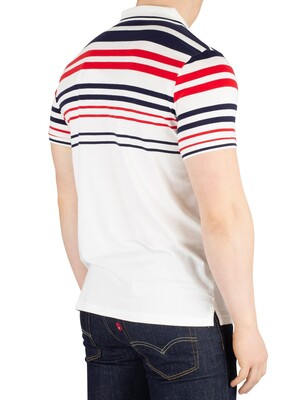 Fila Geeza Stripe Poloshirt - White/Peacoat/Chinese Red