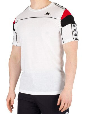 Kappa Arar 222 Banda Slim T-Shirt - White/Red/Black