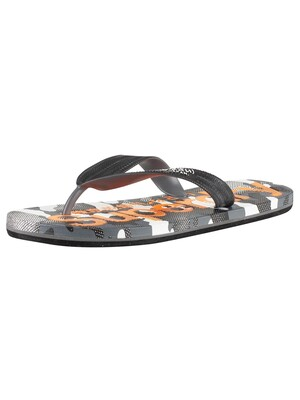 Superdry AOP Flip Flops - Black/Hazard Orange/Textured Camo