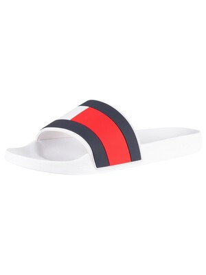 Tommy Hilfiger Essential Flag Pool Sliders - White