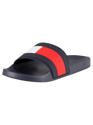 Tommy Hilfiger Essential Flag Pool Sliders - Red/White/Blue