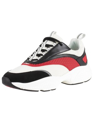 Ed Hardy Scale Chunky Runner Trainers - Black/White/Red