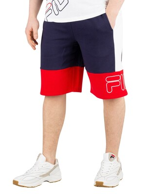 Fila Reiley Colour Block Shorts - Peacoat/Chinese Red/White