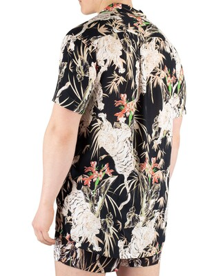 Sik Silk Resort Short Sleeve Floral Shirt - Black