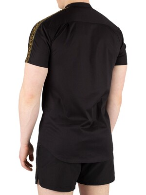 Sik Silk Cartel Short Sleeve Grandad Collar Shirt - Black