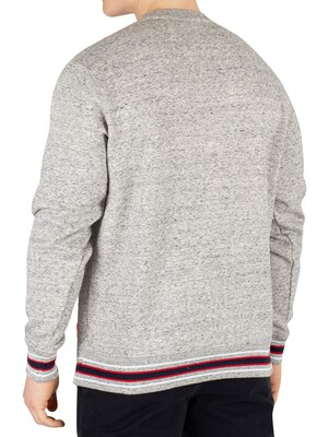 Superdry College Boxy Fit Applique Sweatshirt - Academy Smoke Grey Grit