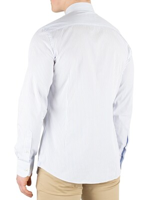 Hackett London Bengal Stripe Slim Fit Shirt - Sky/White