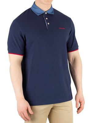 Hackett London Chambray Slim Fit Poloshirt - Navy