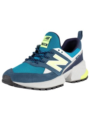 New Balance 574 Suede Trainers - Blue/Green/Grey