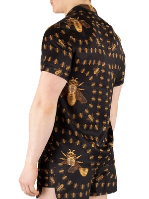 Hermano Bee Print Cuban Shortsleeved Shirt - Black
