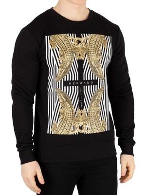 Hermano Cross Crocodile Sweatshirt - Black/Gold
