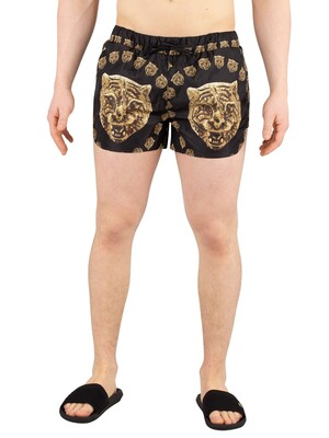 Hermano Tiger Print Beach Swim Shorts - Black Gold