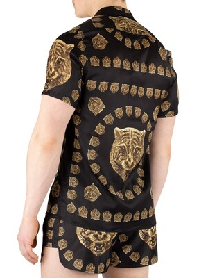 Hermano Tiger Print Cuban Shortsleeved Shirt - Black/Gold