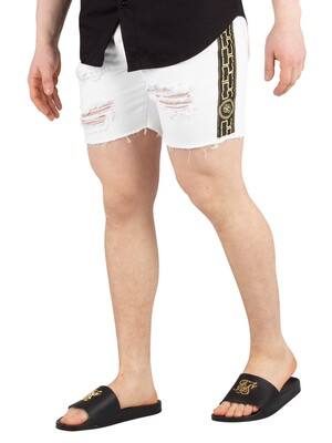 Sik Silk Cartel Denim Shorts - White