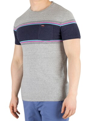 Superdry Orange Label Chestband Pocket T-Shirt - Mid Cali Grey Grit