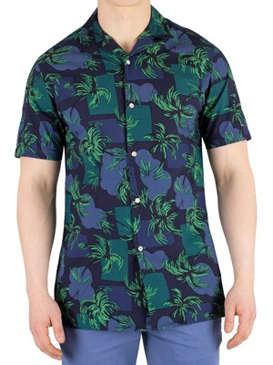 Tommy Hilfiger Palm Tree Print Shortsleeved Shirt - Night Sky/Multi