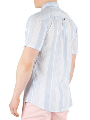 Tommy Jeans Striped Poplin Short Sleeved Shirt - Light Blue/Classic White