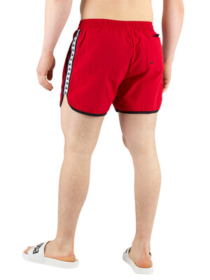 Kappa Authentic Agius Swim Shorts - Red/White/Black
