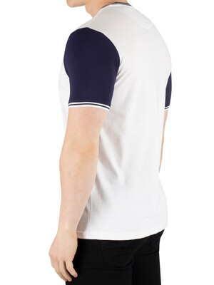 Lyle & Scott Tipped T-Shirt - White/Navy